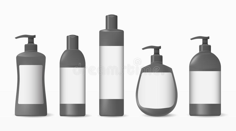 Collection of realistic cosmetic plastic bottles with a label on a white background.Cosmetic brand pattern. Design Beauty Products. Vector illustration stock illustration