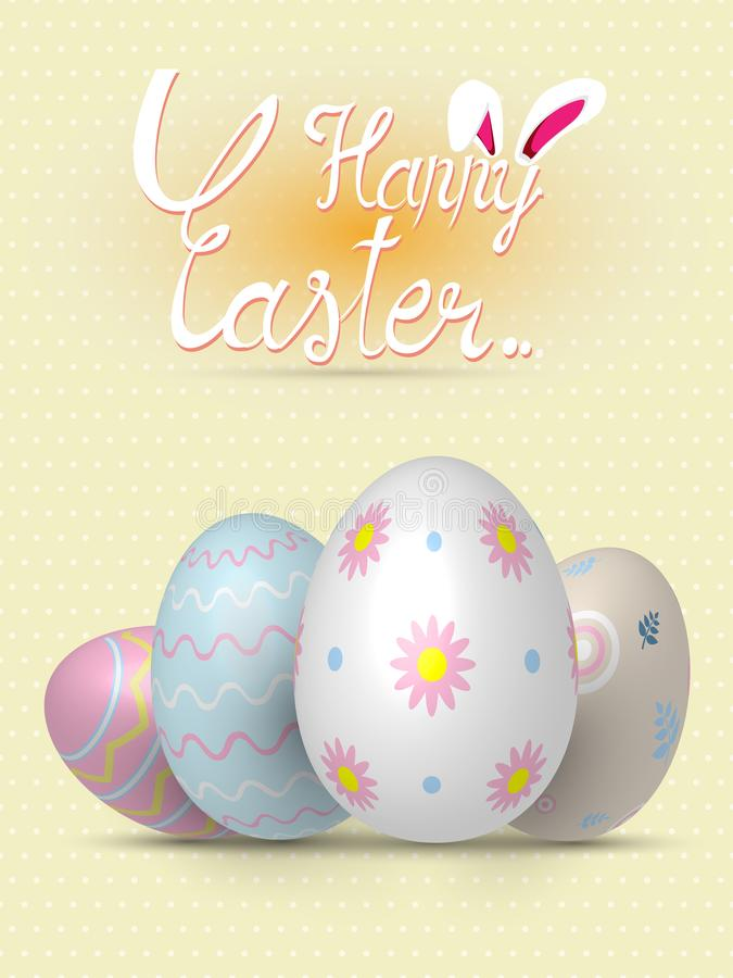Collection of realistic 3D Easter eggs with different texture, pattern on retro pastel background vector illustration