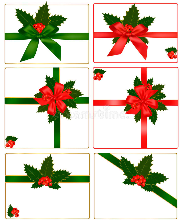 Download Collection Of Red Bows With Ribbons And Holly Stock Vector - Illustration: 17590710