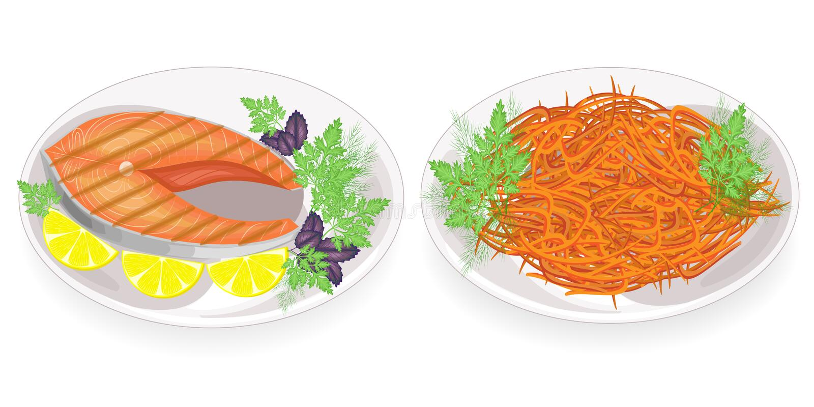 Collection. Red fish steak on a plate. Garnish with lemon, parsley, dill and basil. Korean carrot. Delicious and nutritious food. Vector illustration set royalty free illustration