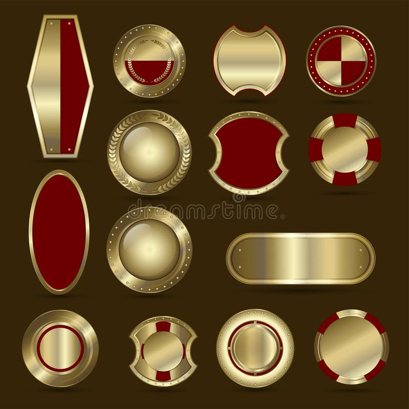 Collection of red and golden shield, badge, label, award or ribbons. stock illustration
