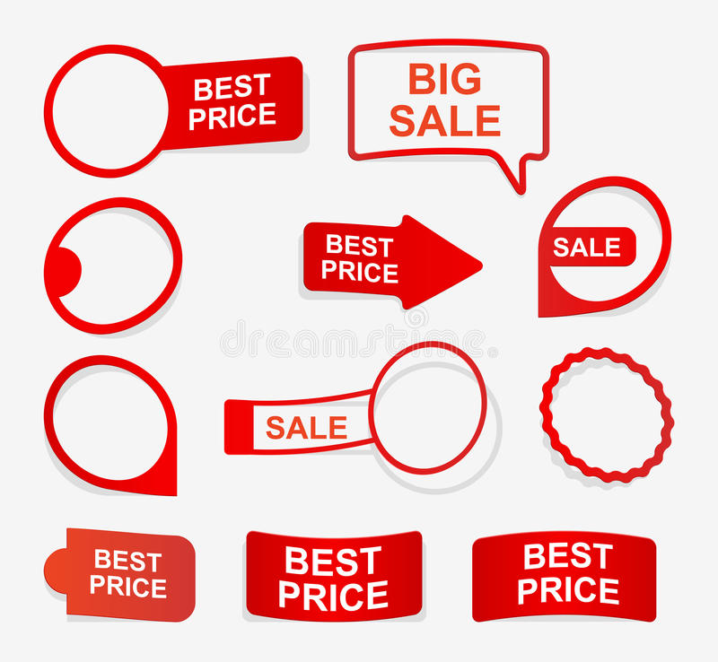 Collection red paper labels in the form of stickers. Design elements. vector illustration