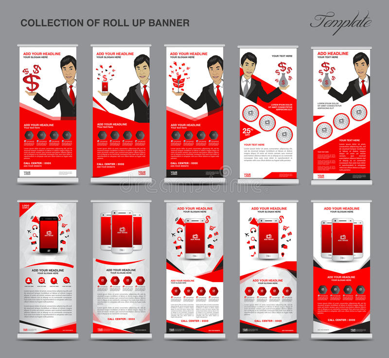 Collection of Red Roll Up Banner stand template set. Advertisement, display, pull up, x-stand, flag-banner, mobile ads, business flyer, media, polygon royalty free illustration