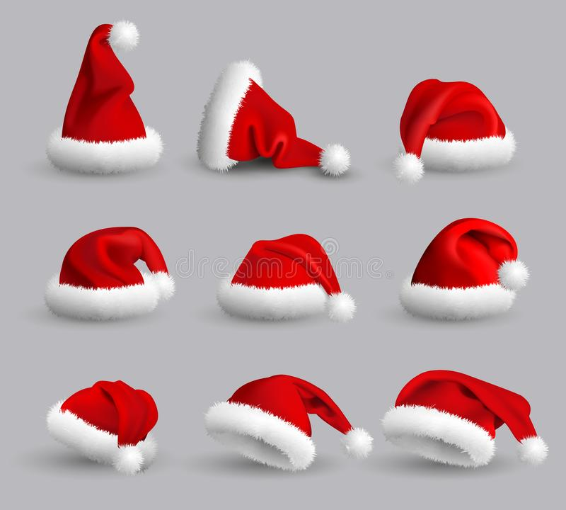 Collection of Red Santa Claus Hats isolated on gray background. Set. Vector Realistic Illustration. vector illustration