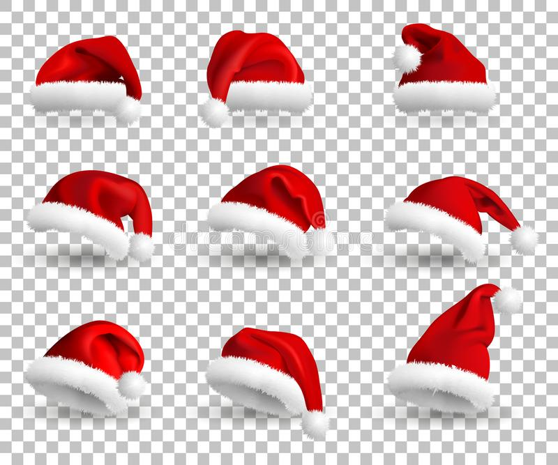 Collection of Red Santa Claus Hats isolated on transparent background. Set. Vector Realistic Illustration. royalty free illustration