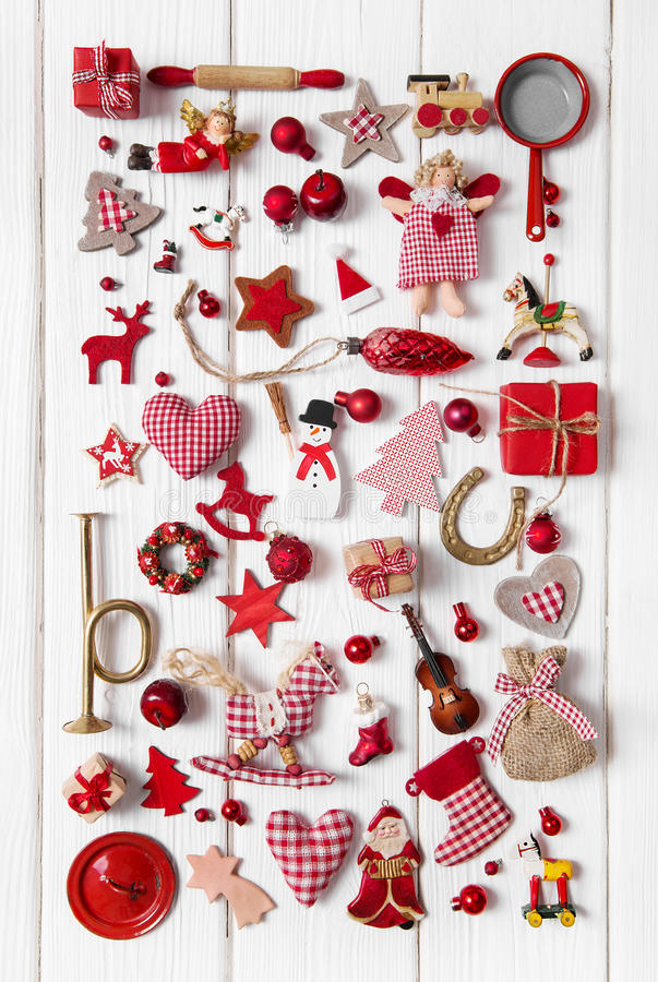 Download Collection Of Red And White Checkered Christmas Decoration On Wo Stock Photo - Image of nostalgic, figure: 60001890