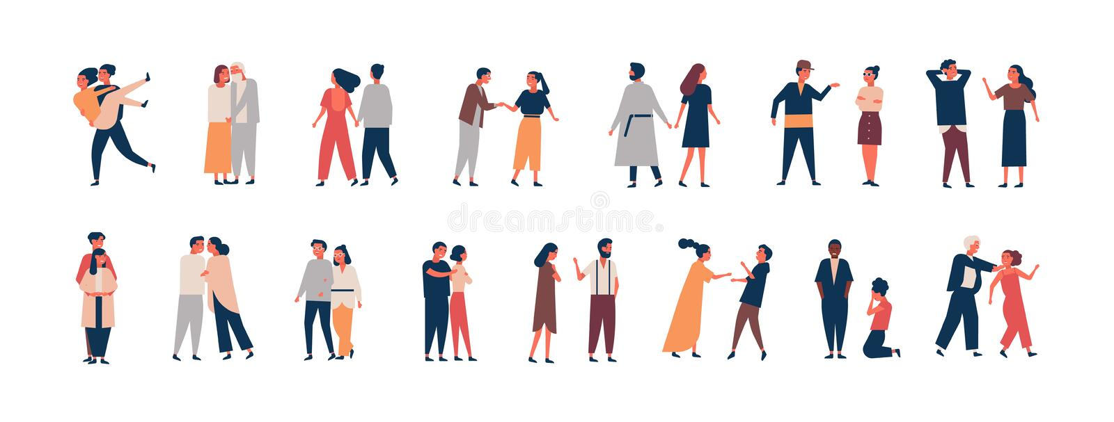 Collection of relationship development stages. Set of men and women dating, quarreling, hugging, fighting. Couples or stock illustration
