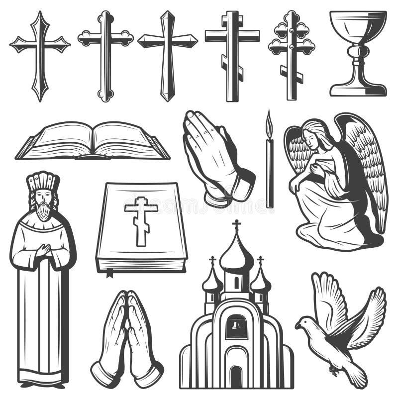 Collection religieuse d'éléments de vintage illustration de vecteur