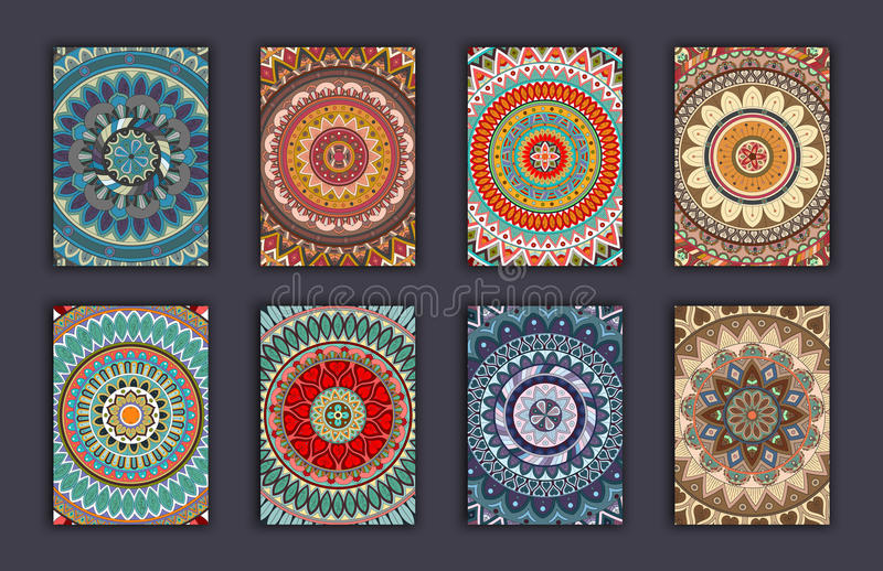 Collection retro cards. Ethnic backgrounds. Card of invitation. Vintage design elements royalty free illustration