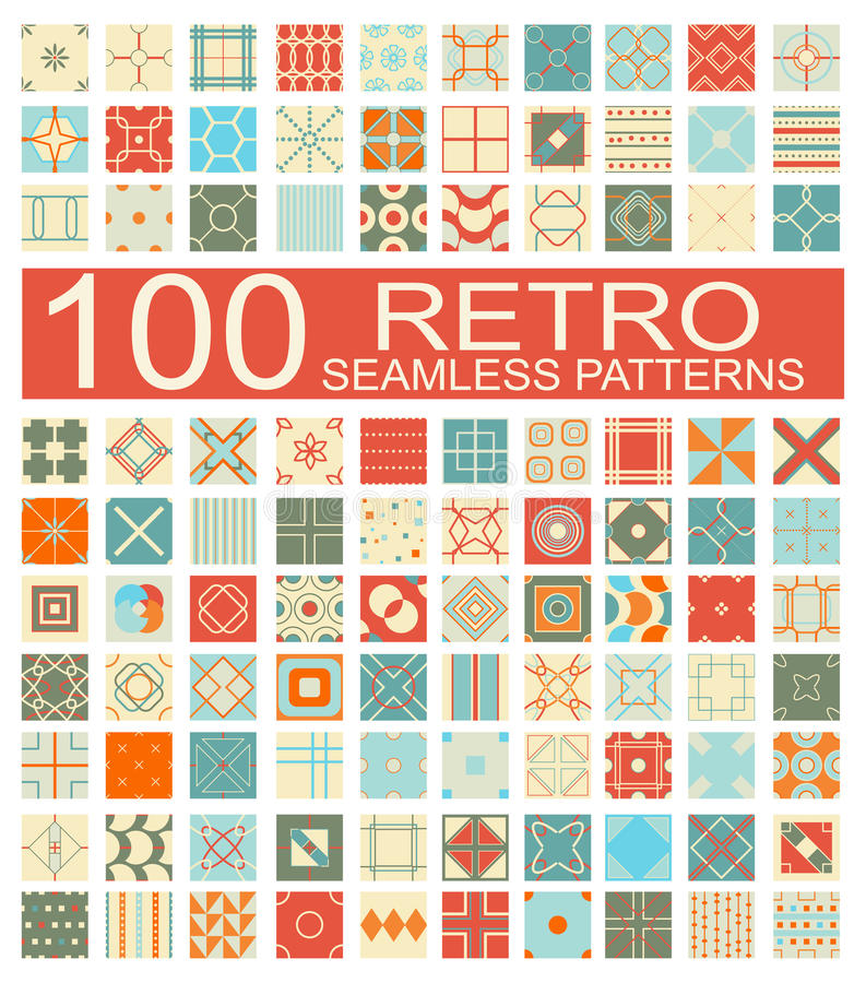 Collection of 100 retro different vector geometric seamless pattern royalty free illustration