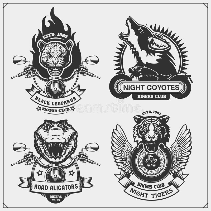 Collection of retro motorcycle labels, badges and design elements. Motor and biker club emblems with wild animals. Print design for t-shirt royalty free illustration