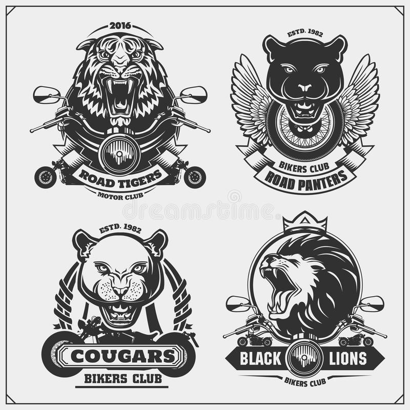 Collection of retro motorcycle labels, badges and design elements. Motor and biker club emblems with wild animals. Collection of retro motorcycle labels, badges stock illustration