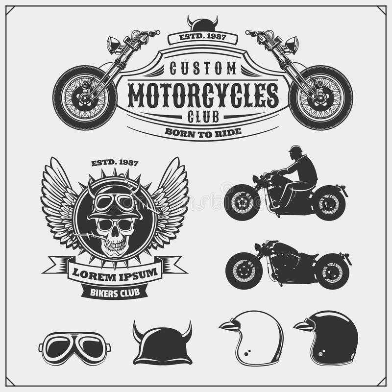 Collection of retro motorcycle labels, emblems, badges and design elements. Helmets, goggles and motorcycles. Vintage style. royalty free illustration