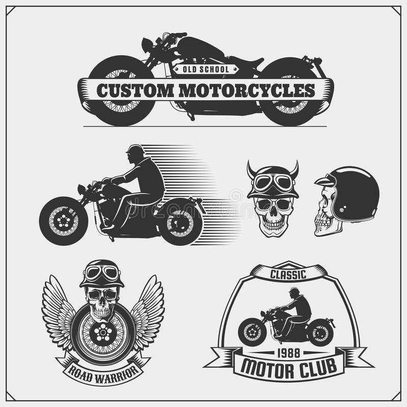Collection of retro motorcycle labels, emblems, badges and design elements. Vintage style. Monochrome design royalty free illustration