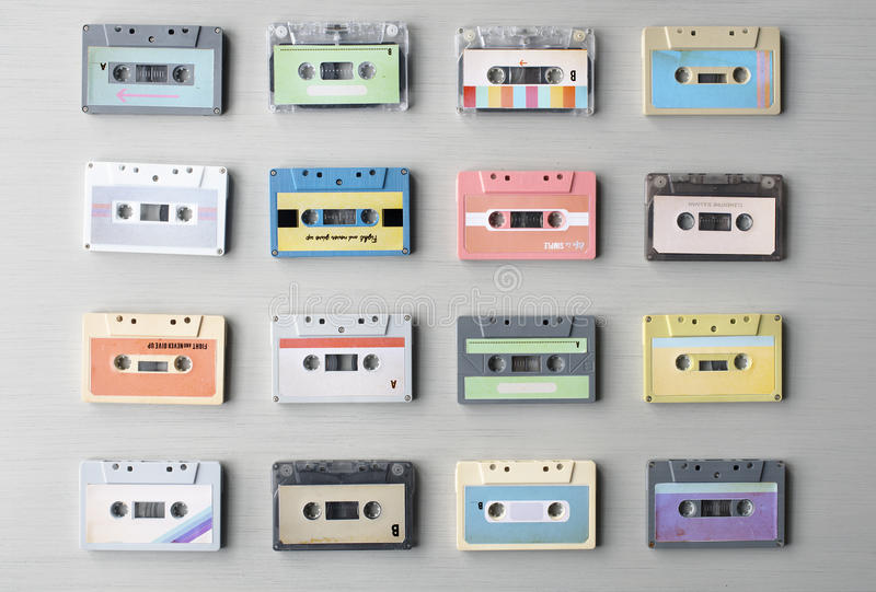 Collection of Retro Music Audio Cassette Tape 80s stock photos