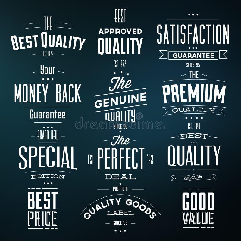 Collection of Retro Premium Quality Labels vector illustration