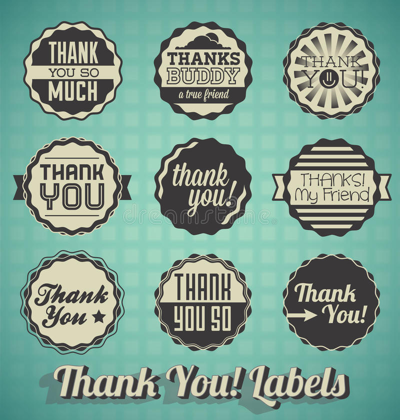 Thank You Labels and Icon stock illustration