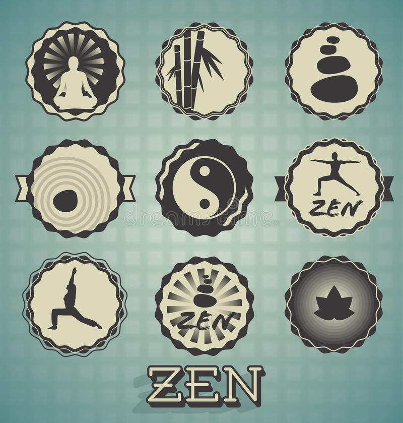 Retro Zen Labels and Icons. Collection of retro style zen labels and icons royalty free illustration
