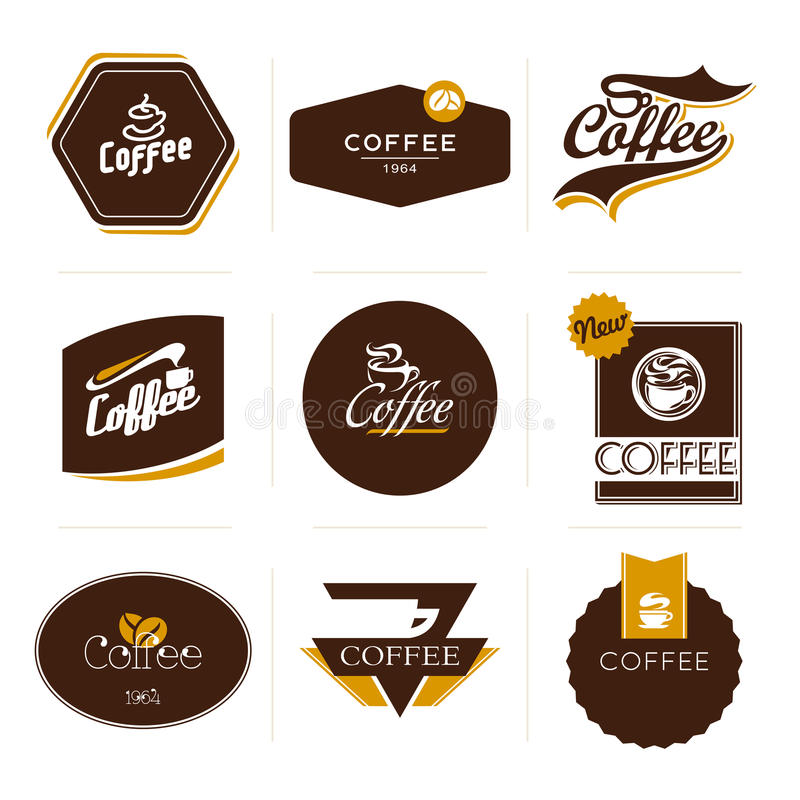 Collection of retro styled coffee labels. royalty free illustration