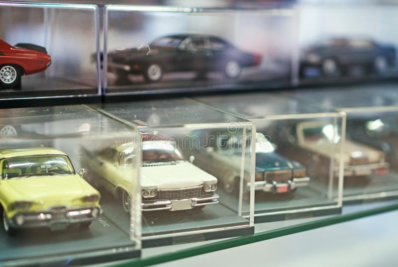 Collection of retro toy car models. stock photos