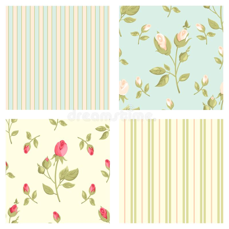 Free Collection Retro Vector Seamless Patterns In Shabby Chic Style Royalty Free Stock Photos - 104756138