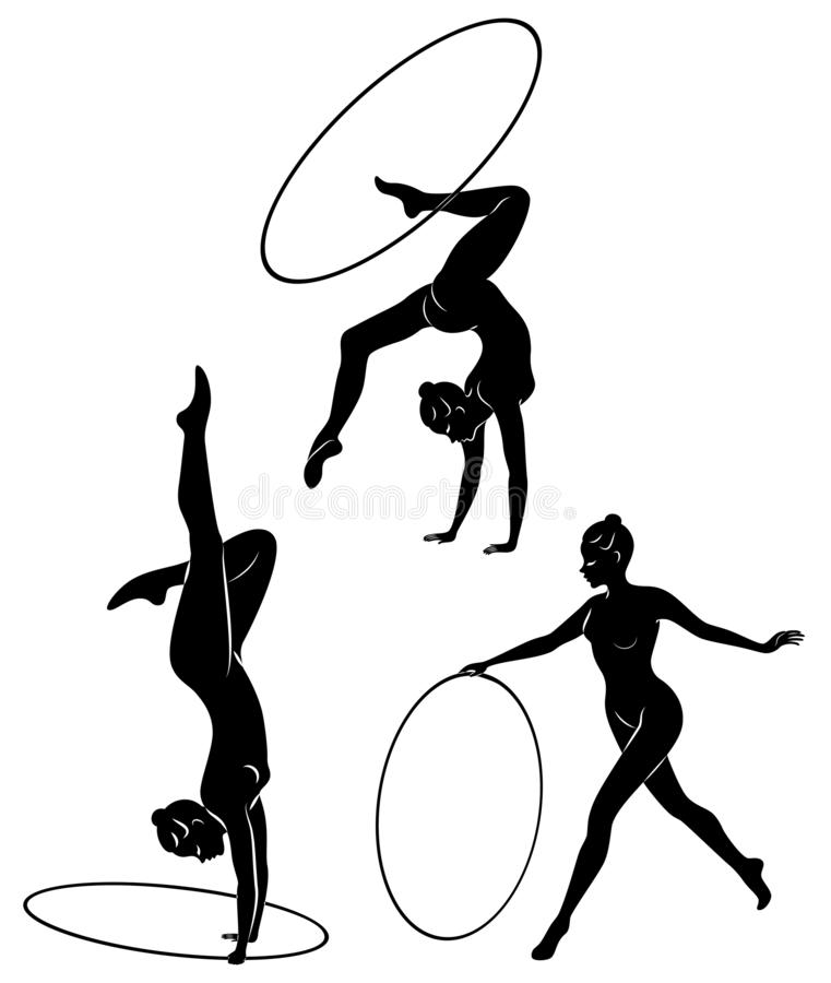 Collection. Rhythmic gymnastics. Silhouette of a girl with a hoop. Beautiful gymnast. The woman is slim and young. Vector stock images