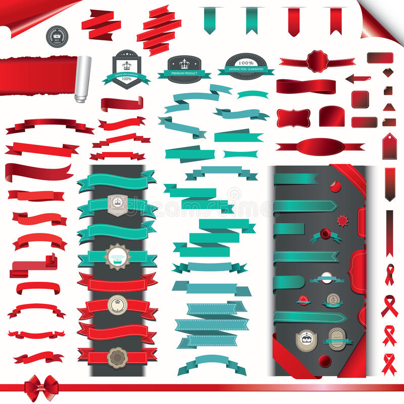 Collection of ribbons, stickers, torn and wrap paper vector illustration
