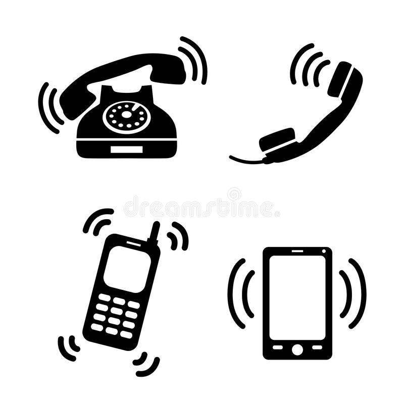 collection of ringing phones stock vector