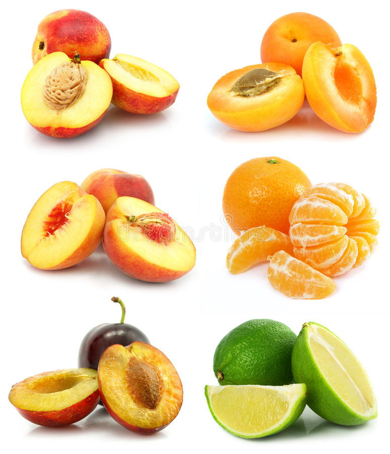 Collection of ripe fruit isolated stock photo