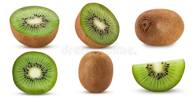 Collection ripe kiwi fruit, whole, cut in half, slice royalty free stock images