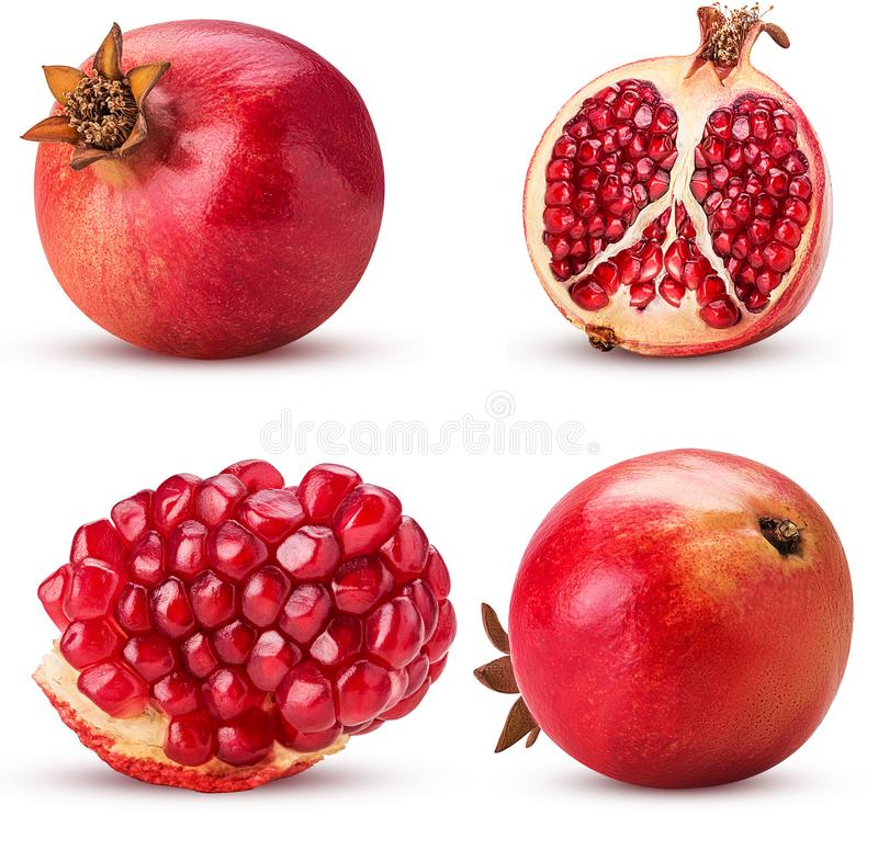 Collection ripe pomegranate fruit, whole, cut in half, slice royalty free stock image