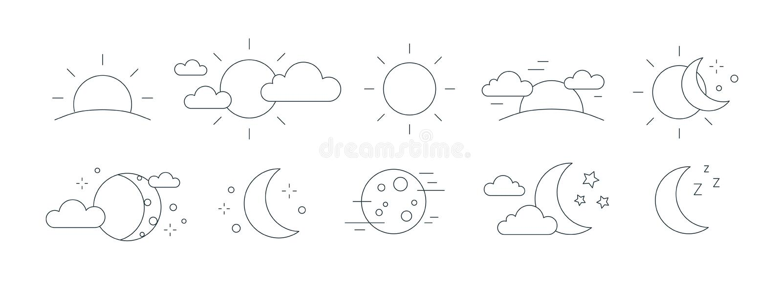 Collection of rising or setting sun, moon phases, clouds and stars symbols. Bundle of day and night time pictograms vector illustration