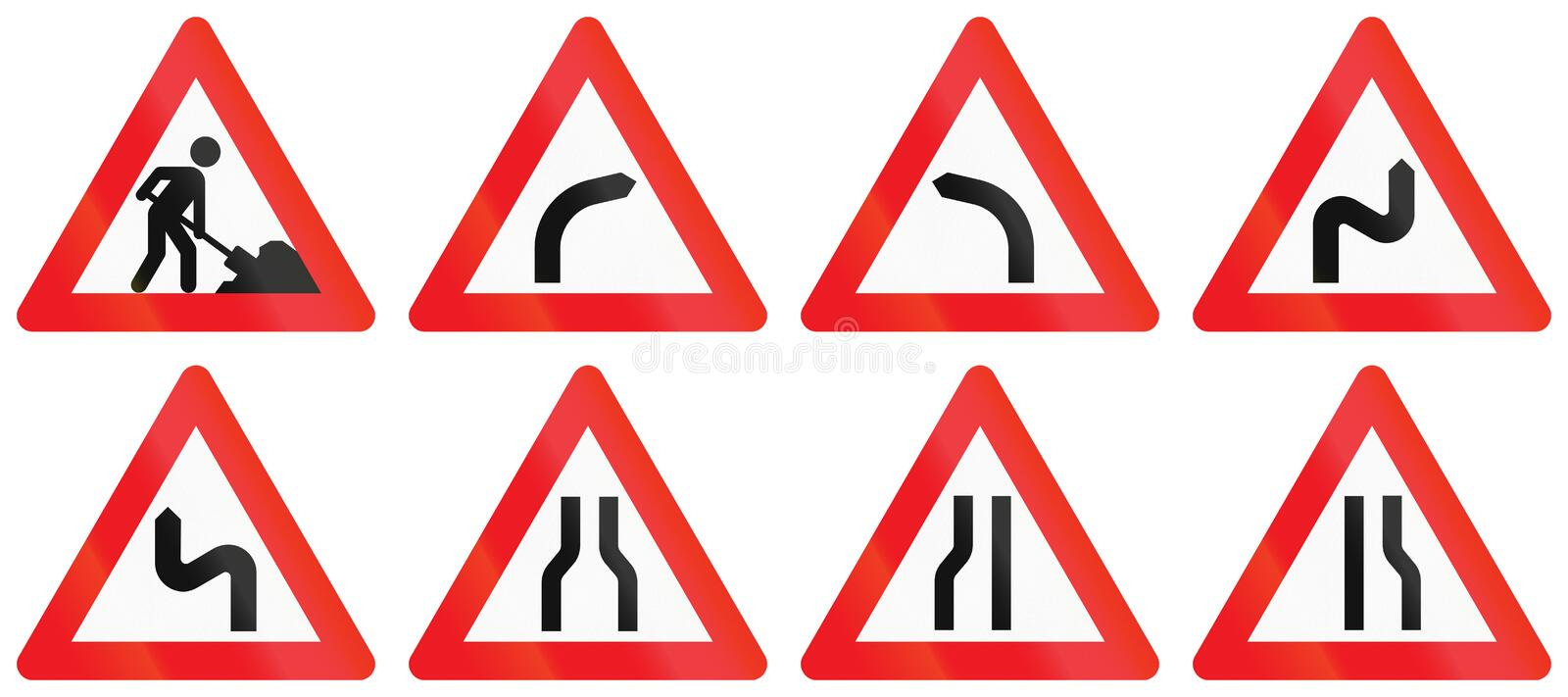 Collection of Road Signs Used in Denmark royalty free illustration