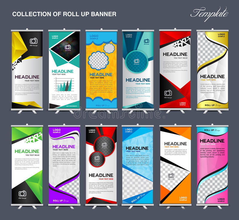 Collection of Roll Up Banner Design stand template vector illustration royalty free stock photos