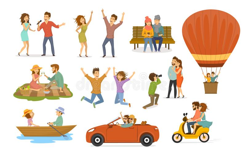 Collection of romantic activities of couples in love, disco club dance, sing karaoke songs, sitting in park on a bench, hot air ba stock illustration