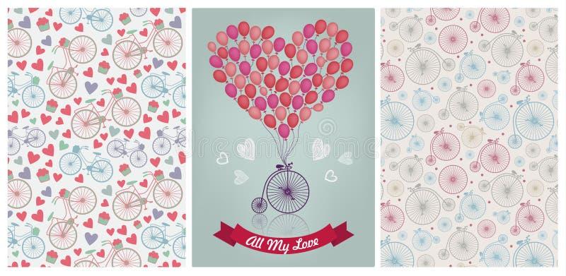 Collection romantique de vecteur Bicyclettes de vintage et modèles de coeurs, amour, valentine, épousant la carte d'invitation illustration stock