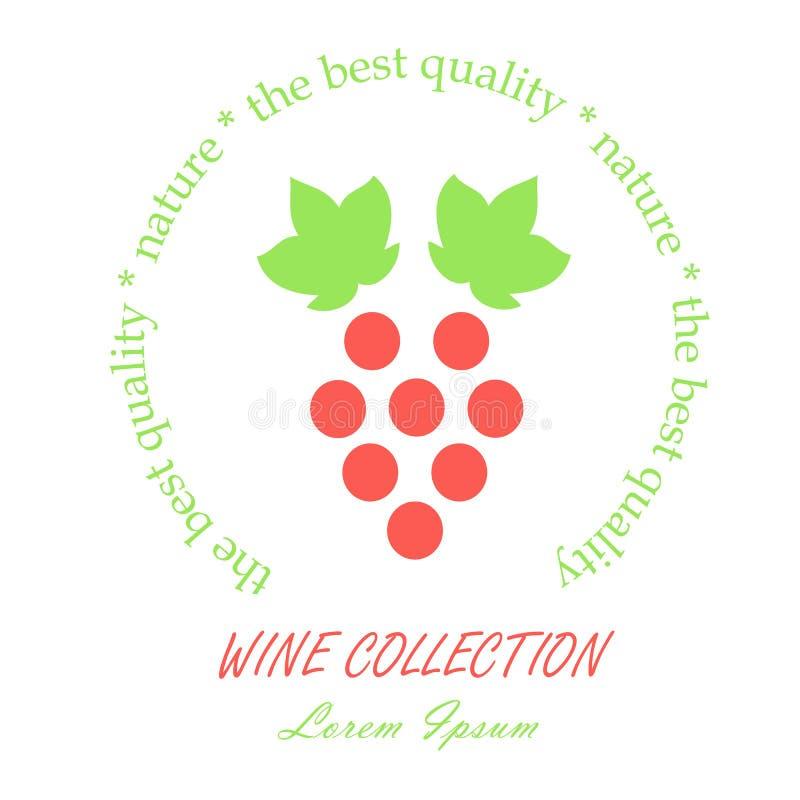 Collection ronde de vin de label La ligne vert de style pousse des feuilles et groupe de raisin rouge, lorem ipsum sur le blanc,  illustration de vecteur