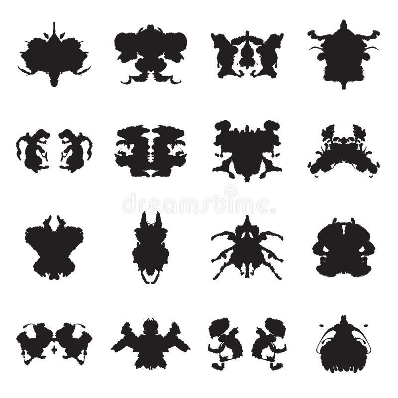 Collection of Rorschach test inkblots. Vector illustration vector illustration