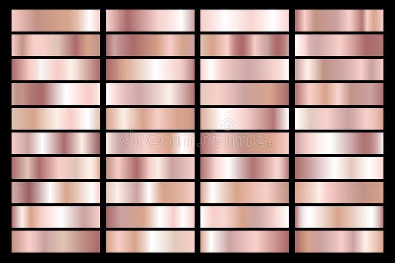 Collection of rose gold metallic gradient. Brilliant plates with golden effect. Vector illustration.  vector illustration