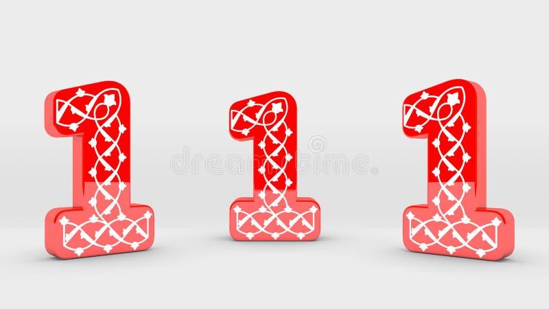 collection rouge de nombre de la décoration 3d - 1 illustration de vecteur