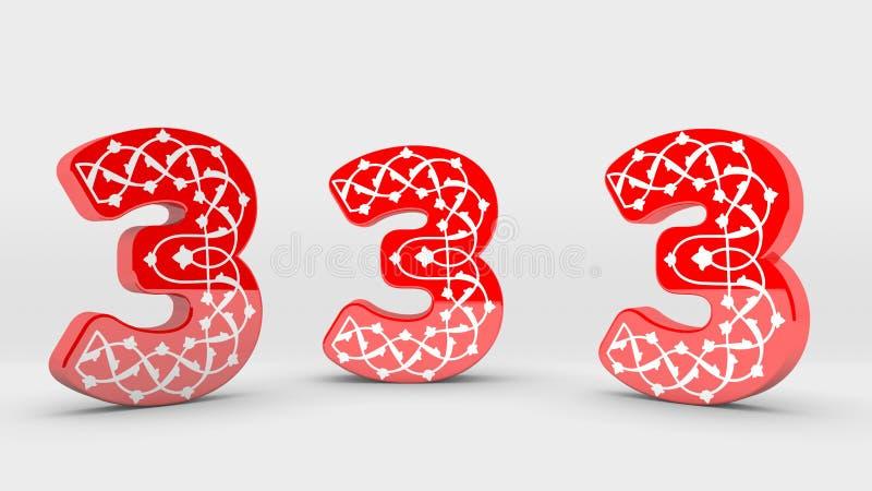 collection rouge de nombre de la décoration 3d - 3 illustration libre de droits