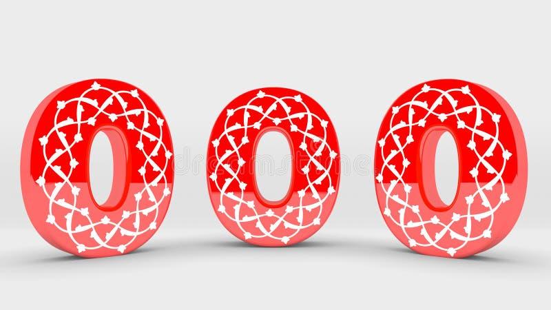 collection rouge de nombre de la décoration 3d - 0 illustration de vecteur