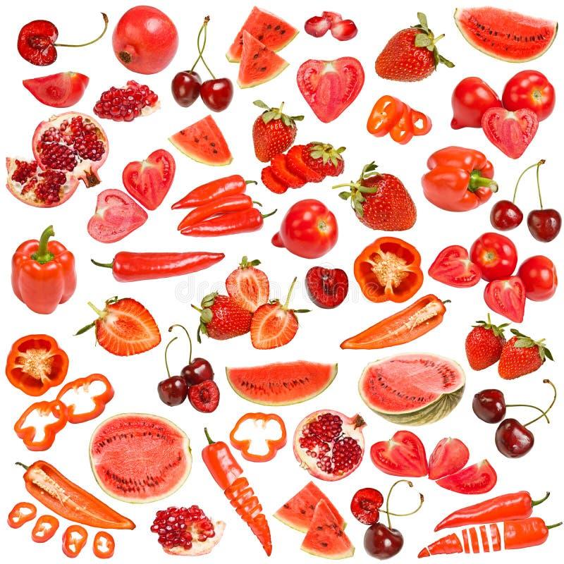 Collection rouge de nourriture images stock