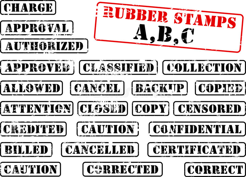 Collection of rubber stamp ABC vector illustration