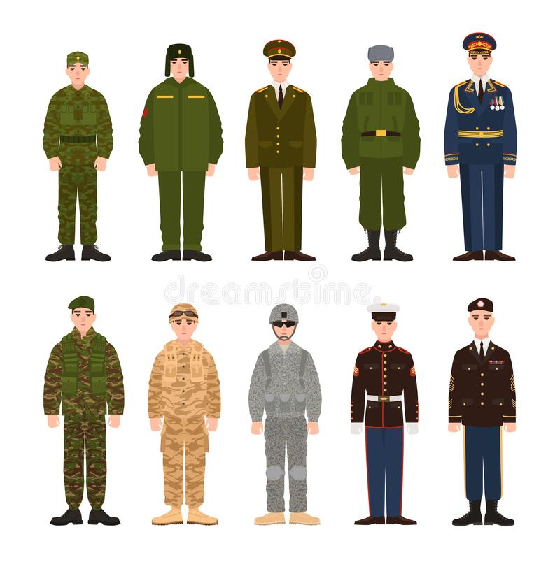 Collection of Russian and American military people or personnel dressed in various uniform. Bundle of soldiers of Russia vector illustration