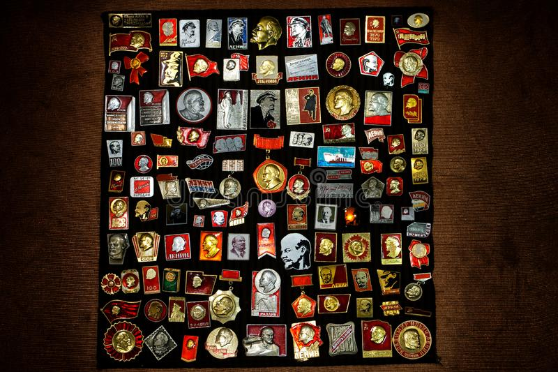A collection of Russian-Soviet badges. stock photo