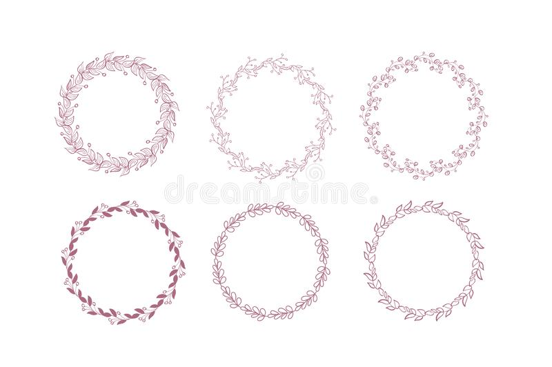 Collection of Rustic Floral Frame Elements. Set of Vector Violet and Pink Wreath, Soft Pastel Color Bouquet, Greeting vector illustration