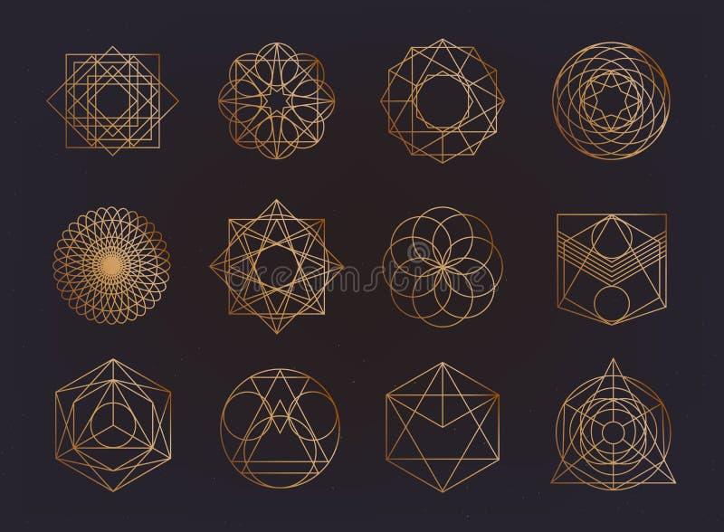 Collection sacrée de symboles de la géométrie hippie, résumé, alchimie, chant religieux, ensemble d'éléments mystique illustration libre de droits