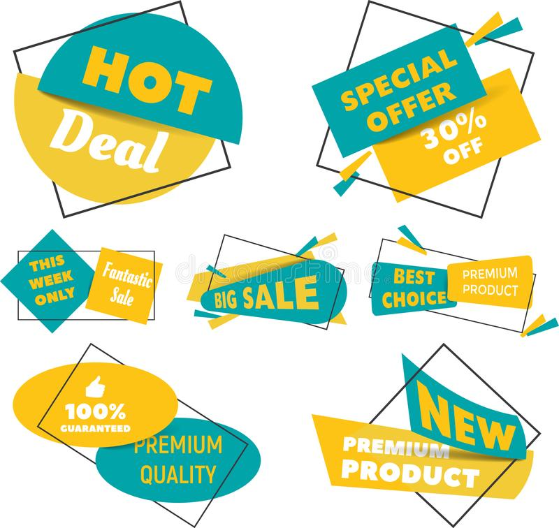 Collection of Sale Discount Styled origami Banners. Flat design. stock illustration
