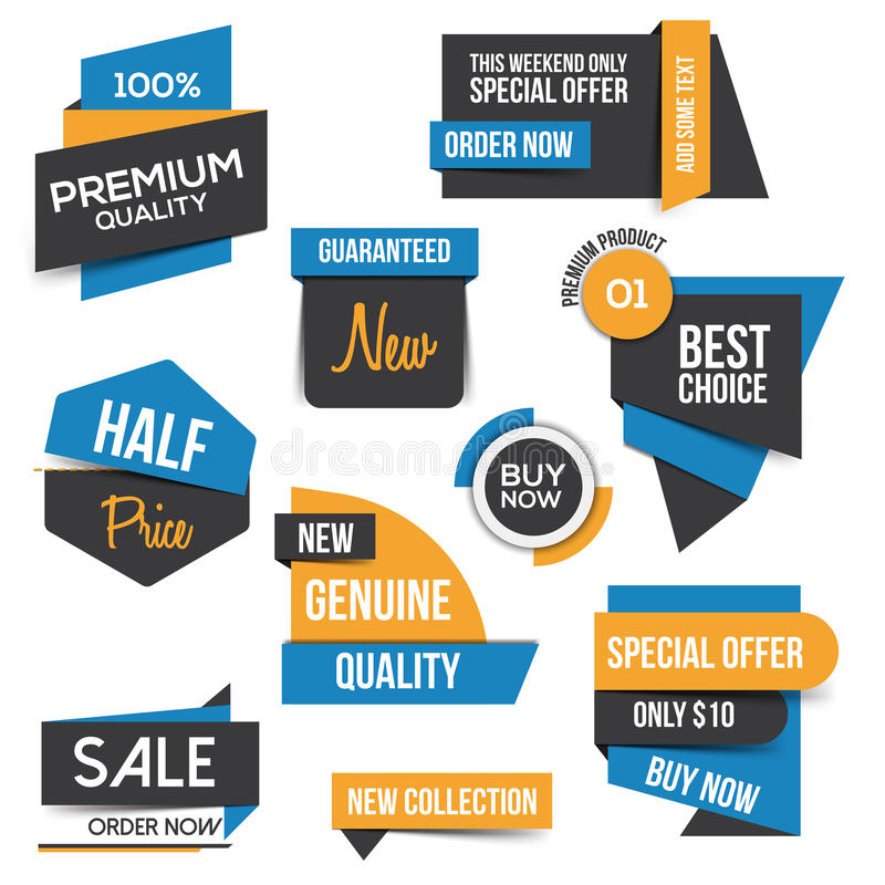 Collection of Sale Discount Styled origami Banners royalty free illustration